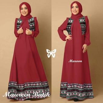 Hasanah Maxi Maureen Batik - maroon