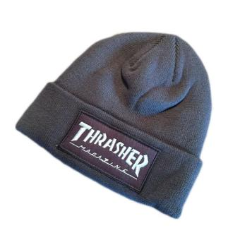Harga 2017 New fashion Thrasher Cap Beanies Hats Top Quality Cotton Winter Embroidery Knitted Caps Hip Hop Cap (Grey) - intl