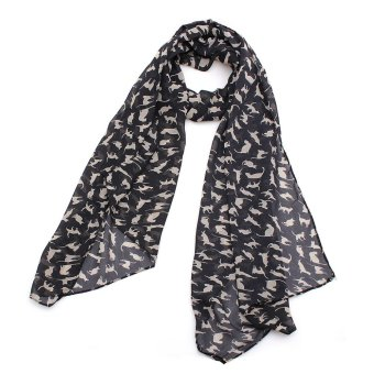 Harga Fashion Women's Chiffon Cat Kitten Scarf (Intl)