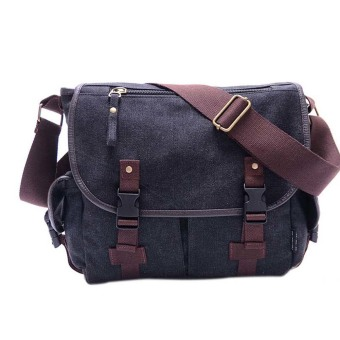 Harga Amart Canvas Crossbody Bag Men Vintage Messenger Bags Travel Shoulder Bag(Black)
