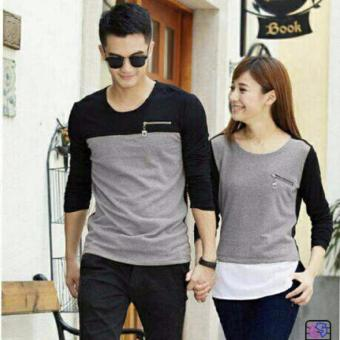 Harga couple store cs - kaos pasangan zipper misty
