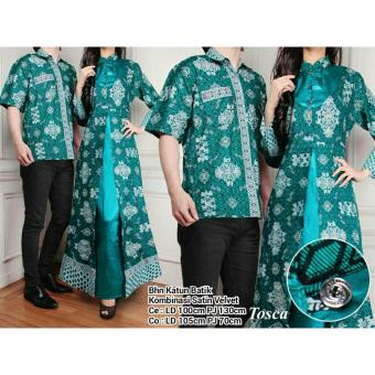 SB Collection Couple Batik Azurra Maxi Dress Dan Kemeja-Hijau