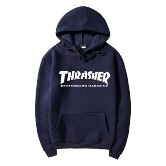 Harga Men's Printed Hoodie Flame Pure Cotton Thickening Thrasher Hoodies THRASHER Flame Clothes Lovers Unlined Upper Garment - intl