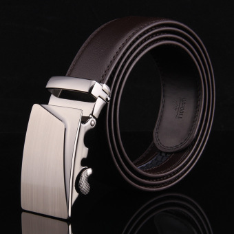 Genuine Leather Belt Buckle Leather Men's Business Suits Automatic Pure Bovine Leather Belt(130cm Brown
