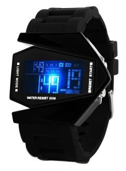 Harga Men Light Digital Sports Electronic Wrist Watch Black