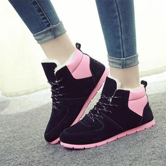 Harga 2017 Fashion Women Winter Snow Boots keep Warm Boots Plush Ankle boot Snow Work Shoes Women's Outdoor Snow Boots 35-40 (pink) - intl