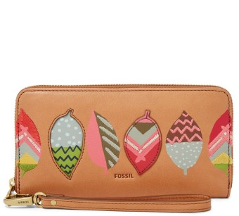 Harga Fossil Emma RFID Large Zip Clutch – Tan / Red, SL 7191945