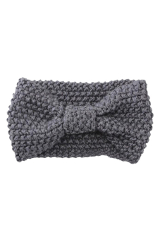 Harga Blue lans Crochet Bow Turban Knitted Hair Band Headband Light (Grey)
