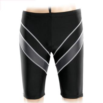 Harga High Quality Knee Length Professional Men Swimming Trunks Man Swim Shorts(Grey Stripe) - intl