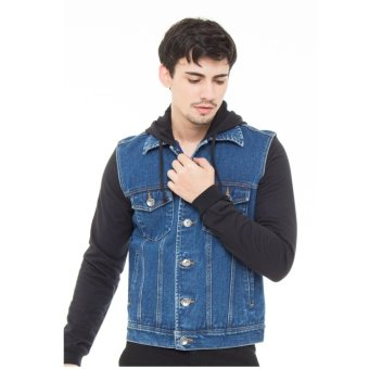Harga DocDenim Men Jacket Cisco Hoodie Slim Comfort Fit Biru