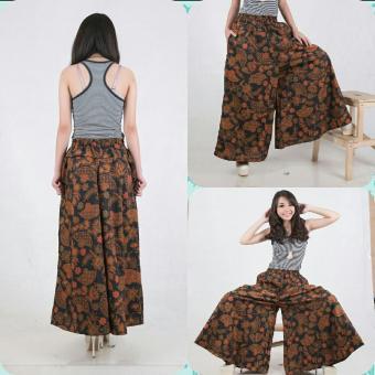 SB Collection Celana Kulot Rok Batik kanza Wide Jumbo Long Pant-Coklat