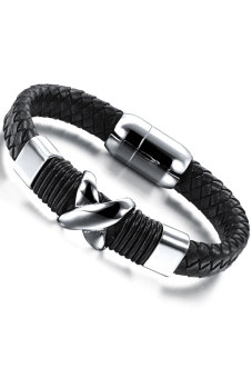 Harga Olen Leather with Titanium Steel Bangle(Black)