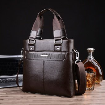 Harga Men's Bags Handbag Shoulder Bag Business Casual Crossbody Bag Male Vertical Briefcase Tote Bag Messenger Bag (Brown) - intl