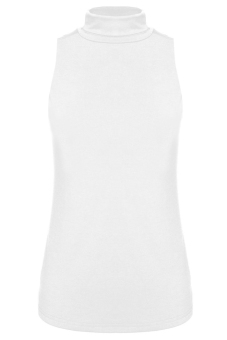 Harga Jo.In Turtle Neck Sleeveless Stretch Blouse Tops S-XL (White)