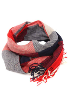 Harga LALANG Plaid Knitting Scarf (Red/Blue)