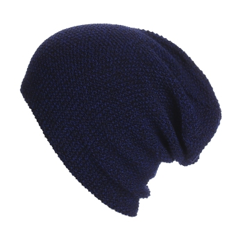 Harga Yika Unisex Long Knit Beanie Hat (Navy Blue) - intl