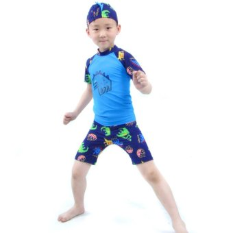 Harga Kids Little Boy Swimwear Bathing Suit Children's Summer Swimsuit Swim Wear Trunks - Blue - Intl