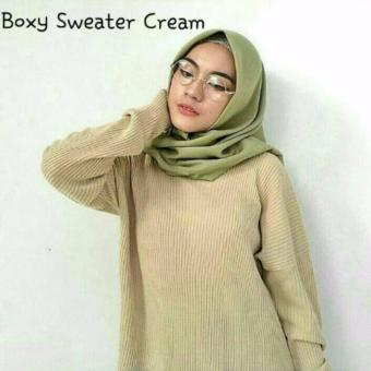 Harga DoubleC Fashion Sweater Boxi Cream