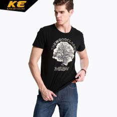 India ksatria katun pria Slim pria bottoming kemeja t-shirt (Hitam-cetak pohon