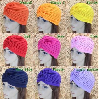 HARGA Indian Hat Vintage Hair Head Wrap Bonnet Stretchable Turban CapHeadwrap-Pink – intl TERBAIK