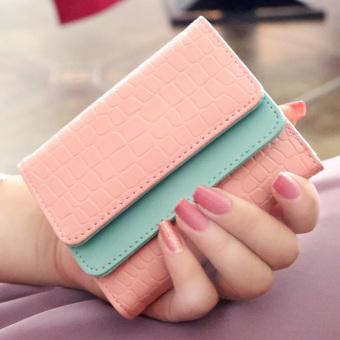 Irak babe manis perempuan Jepang dan Korea Fashion Style ganda dompet wanita kecil wallet (Merah