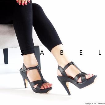 Isabel - Sepatu Wanita T STRAP Platform Heels - Hitam - 2