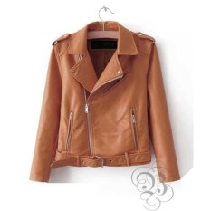 Jacket Semi Kulit Sintetis Brown .