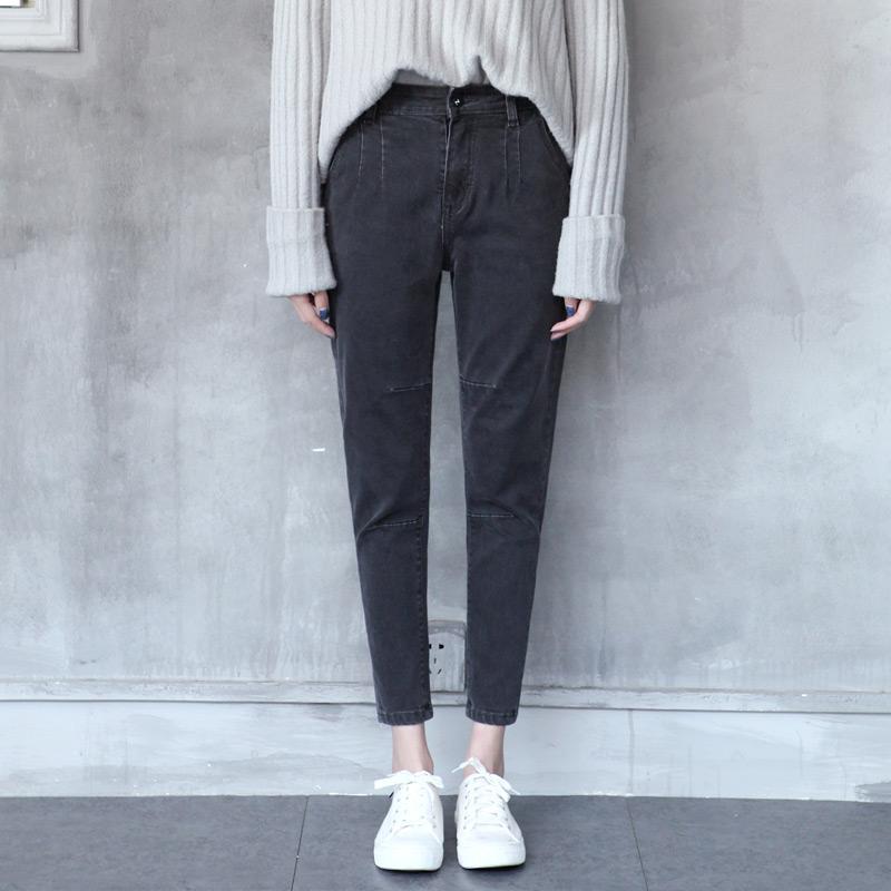 Jahitan harem hitam musim semi dan musim panas celana (Asap abu-abu)