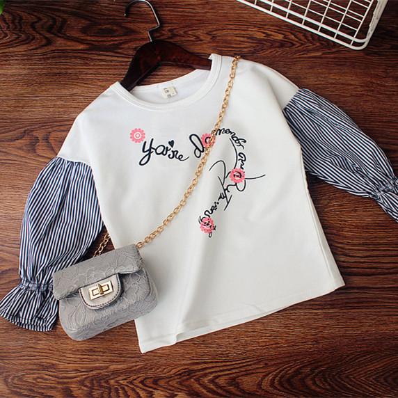 Jahitan lentera lengan huruf cetak boneka kemeja Gadis lengan panjang t- shirt (Putih pertarungan