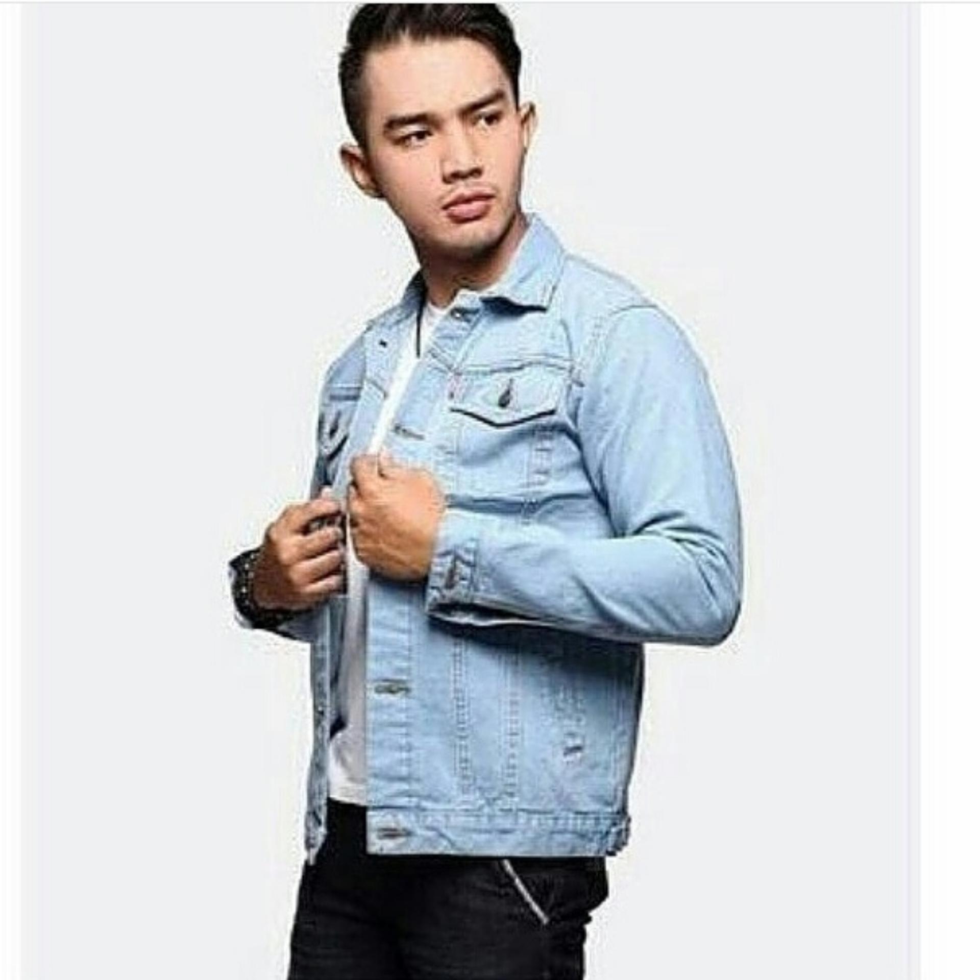 Flash Sale Jaket Jeans Denim Bioblitz Biru Muda Pudar Terbaik Murah Bioblits