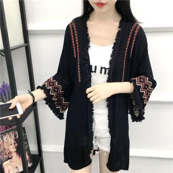 Jaket Model Jubah Wanita Hitam/Putih Bordiran Rumbai Model Setengah Panjang Gaya Etnik (Hitam