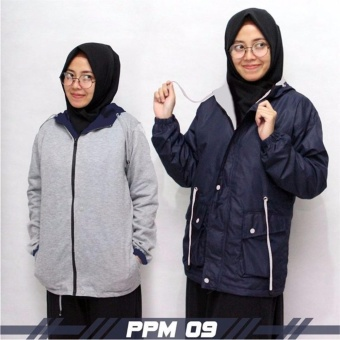 Jaket Murah Parka Bolak Balik Wanita Navy-Grey (Best Seller)