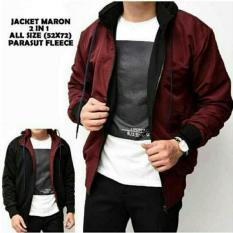 Jaket Parasut Bolak Balik Maroon - Black 2in1