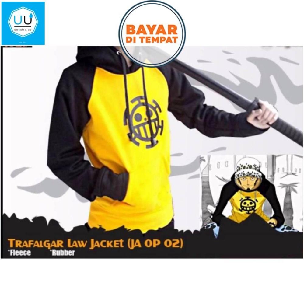 ... Jaket Sweater Hoodie Anime Trafalgar Law One Piece - Yellow/Black ...