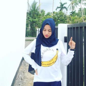 Detail Gambar JCLOTHES Tumblr Tee / Kaos Cewe / Kaos Lengan Panjang Wanita Banana - Putih dan Variasi Modelnya