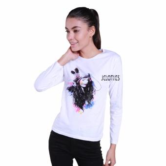 JCLOTHES Tumblr Tee / Kaos Cewe / Kaos Lengan Panjang Wanita Indian Girl - Putih