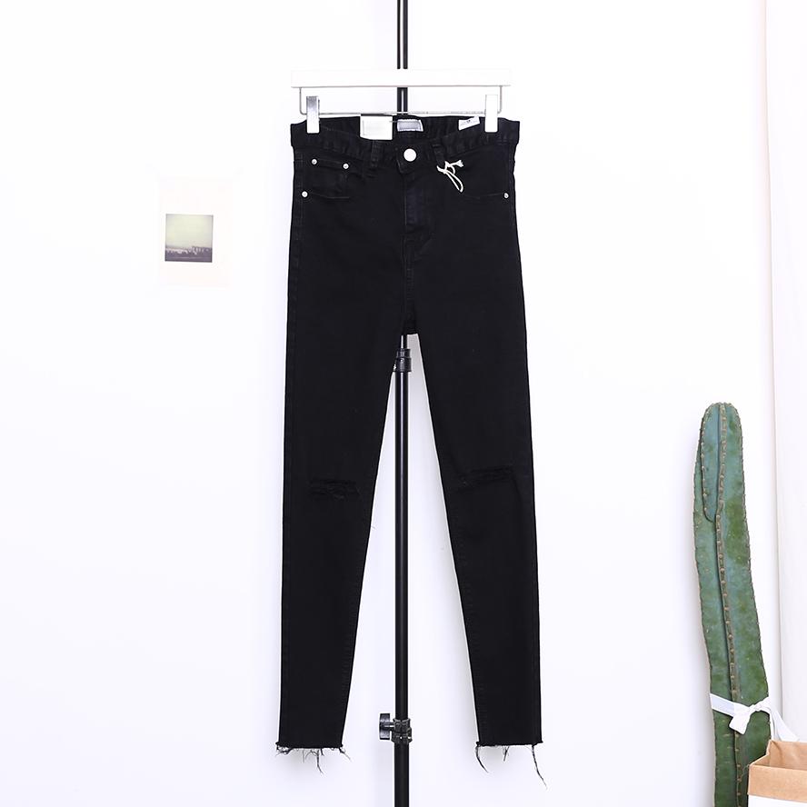 Jeans liar denim asli celana pensil baru (Hitam)