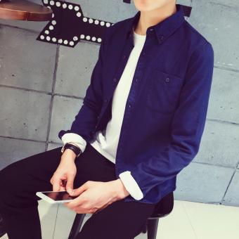 Belanja Terbaik Jepang Warna Solid Pria Ukuran Besar Kemeja Putih Lengan Panjang Kemeja (Biru tua