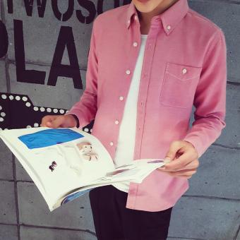 ... Perbandingan harga Jepang Warna Solid Pria Ukuran Besar Kemeja Putih Lengan Panjang Kemeja Merah muda