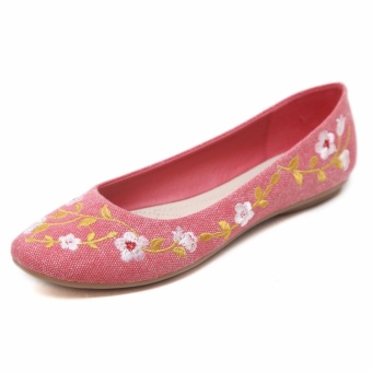 Jetcorn sepatu berkualitas tinggi wanita sepatu santai Women Bohemia Party Casual Flat Heel Soft Sole Flower Embroidery Round Toe Loafers Single Shoes Red Size 35-42 - intl