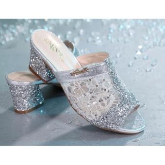 Jetcorn sepatu berkualitas tinggi wanita sepatu santai Women Sequins Chunky Heeled Sandals Peep Toe Shoes Silver Size 35-41 - 5
