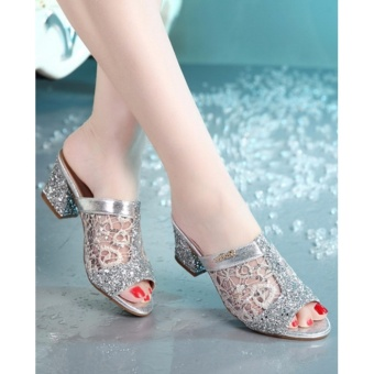 Jetcorn sepatu berkualitas tinggi wanita sepatu santai Women Sequins Chunky Heeled Sandals Peep Toe Shoes Silver Size 35-41 - 3