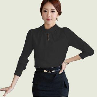 Menggantung-Qiao Panas Gaya Korea Jual Baju Wanita Atasan Bergaris V-Leher Blus HitamIDR119000. Source · Jfashion Blus Leher tinggi tangan panjang Gaya ...