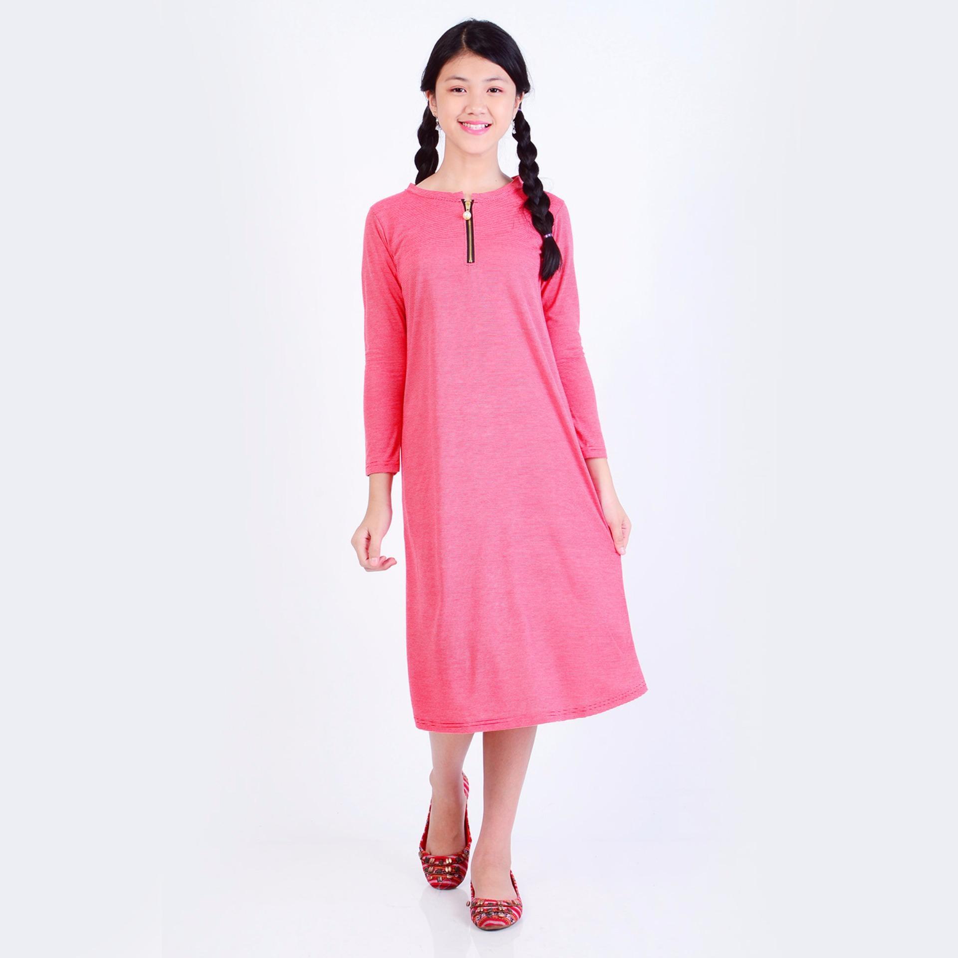 Jfashion Dress Anak variasi seleting tangan Panjang - Aurelteen Ungu