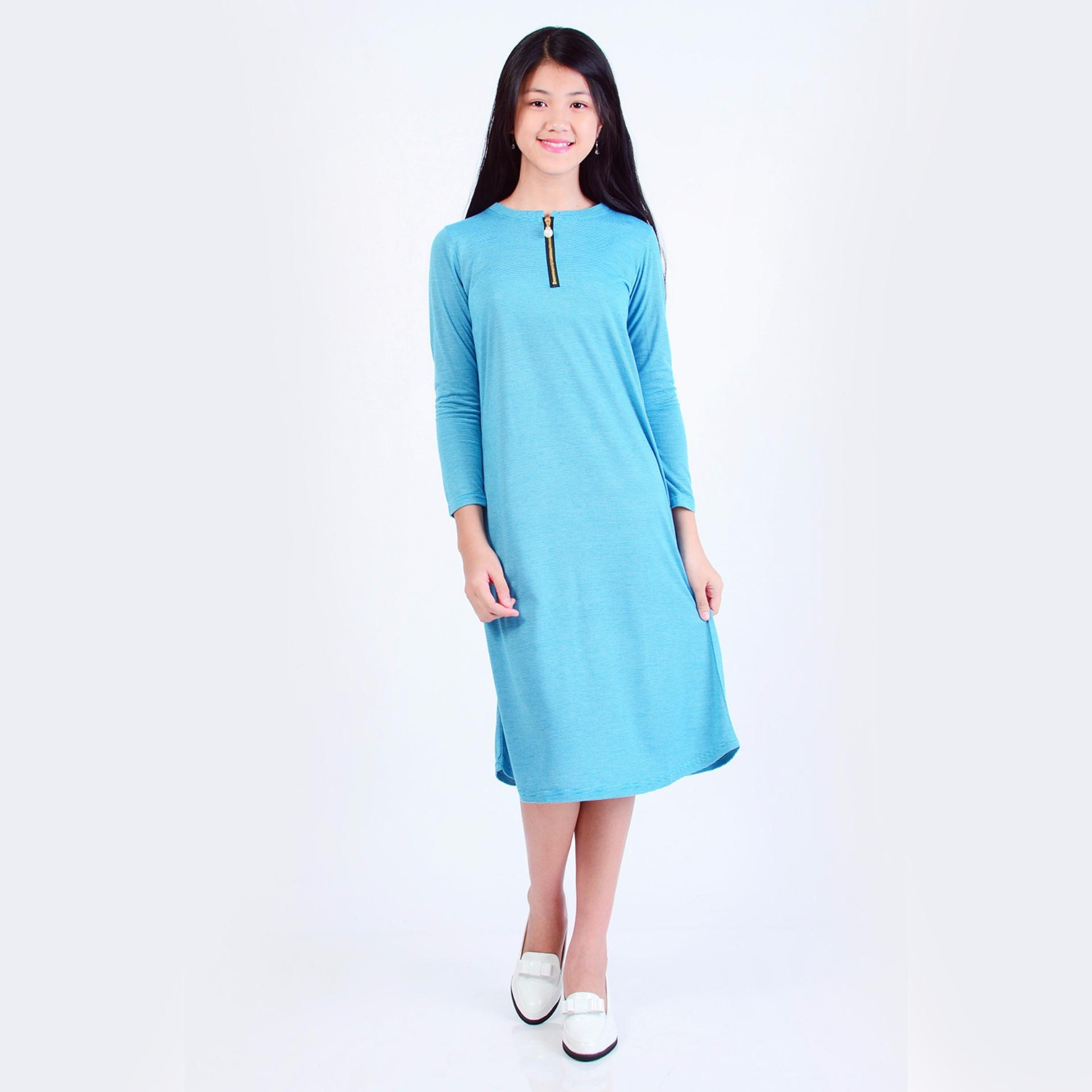 Jfashion Dress Anak variasi seleting tangan Panjang - Aurelteen Biru