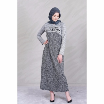 Jfashion Gamis Kombinasi warna plus printing tangan Panjang - Dream Abu Muda