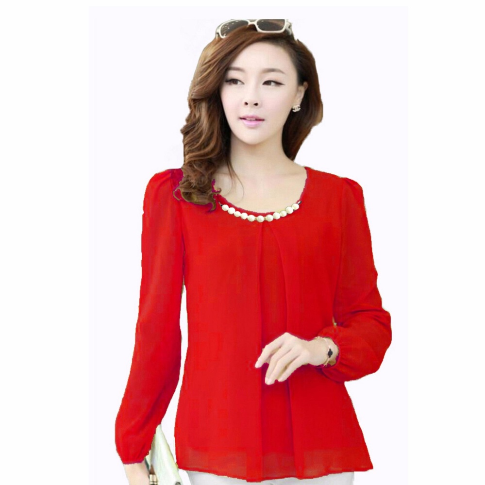 Jfashion Korean Style Blouse With Necklace Long Sleeve Merah Lazada Indonesia .