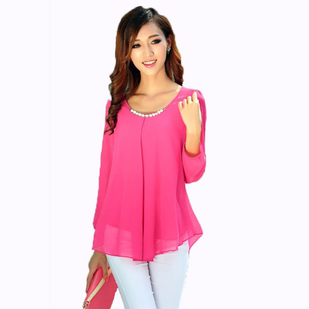 Jfashion Korean Style Blouse With Necklace Long Sleeve Pink Lazada Indonesia .