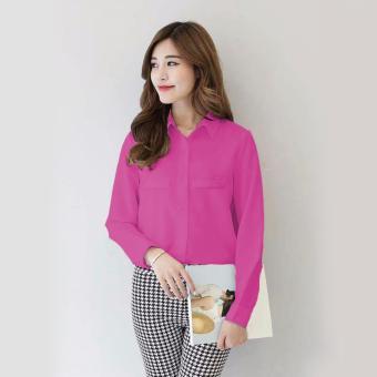 Jfashion Korean Style Plain Shirt Long SLeeve - Ummi Pink