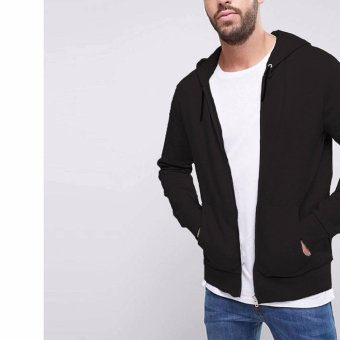 Jfashion Men's Hoodie Jacket With Zipper - Novan Hitam